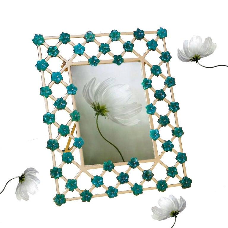 21st Century Gilt Bronze Floral Frame Green Agata Flowers,Gratitude Green  For Sale 1