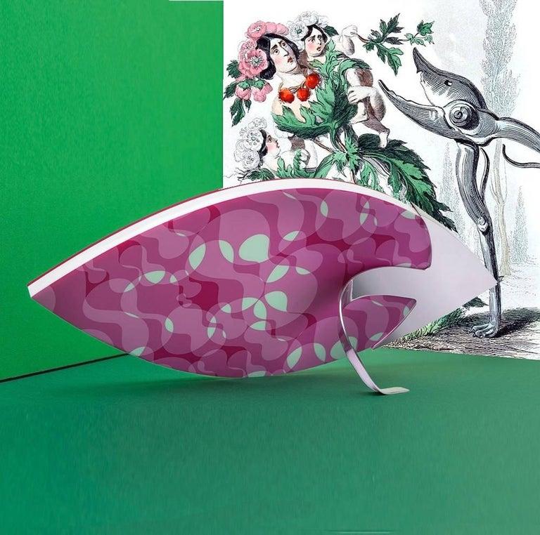 Karim Rashid Contemporary Large Frame in Fuchsia and White Plexiglass, Vision  For Sale 3