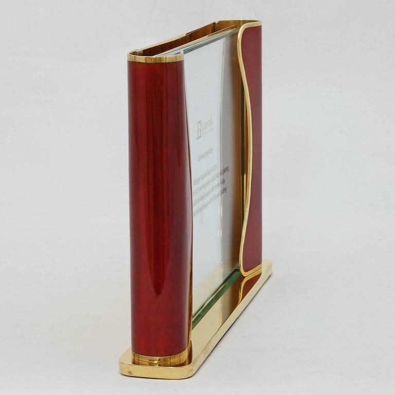 Art Deco Italian Handcrafted Picture Frame with Ruby Enamels, Generosity Ruby In Good Condition For Sale In Sarezzo, IT