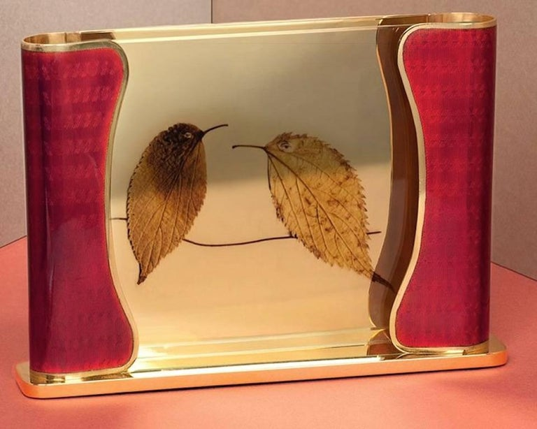 Art Deco Italian Handcrafted Picture Frame with Ruby Enamels, Generosity Ruby For Sale 2