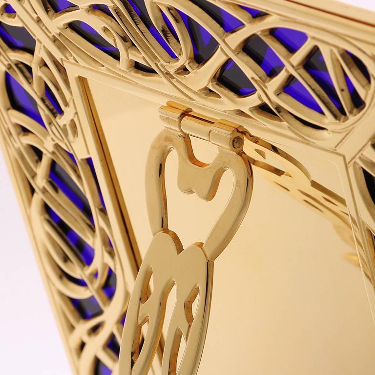 Italian Art Nouveau Gilt Bronze Frame with Blue Murano Glass, Illumination Blue For Sale