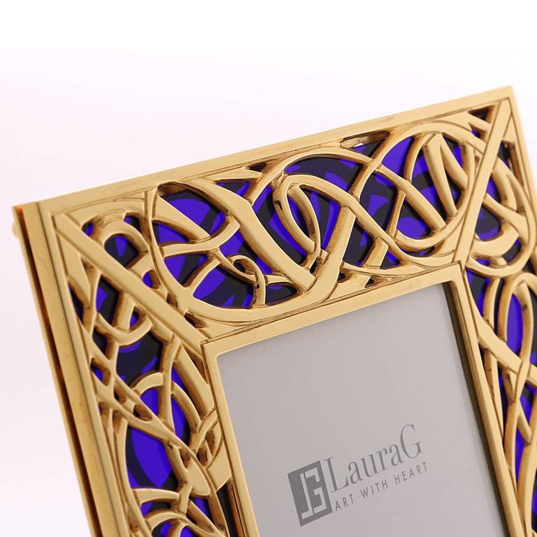 Art Nouveau Gilt Bronze Frame with Blue Murano Glass, Illumination Blue In Good Condition For Sale In Sarezzo, IT