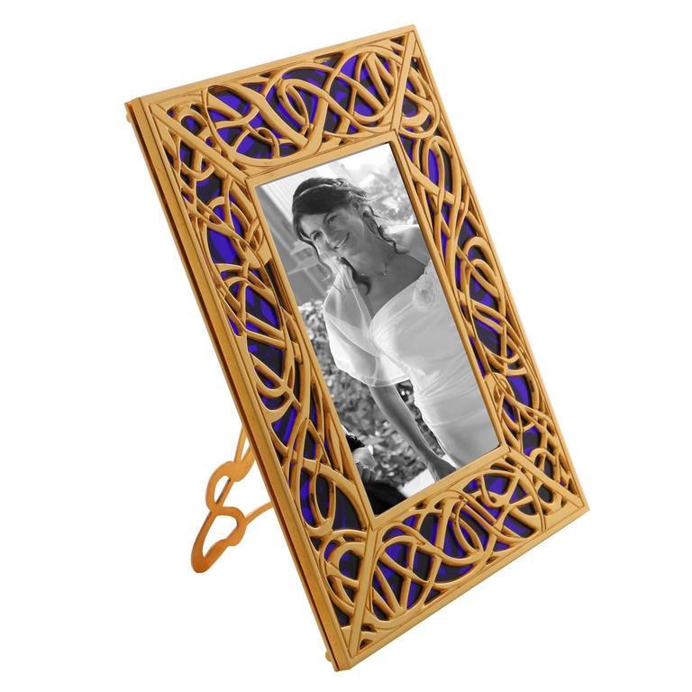 Contemporary Art Nouveau Gilt Bronze Frame with Blue Murano Glass, Illumination Blue For Sale