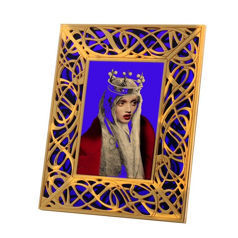 Art Nouveau Gilt Bronze Frame with Blue Murano Glass, Illumination Blue For Sale 1