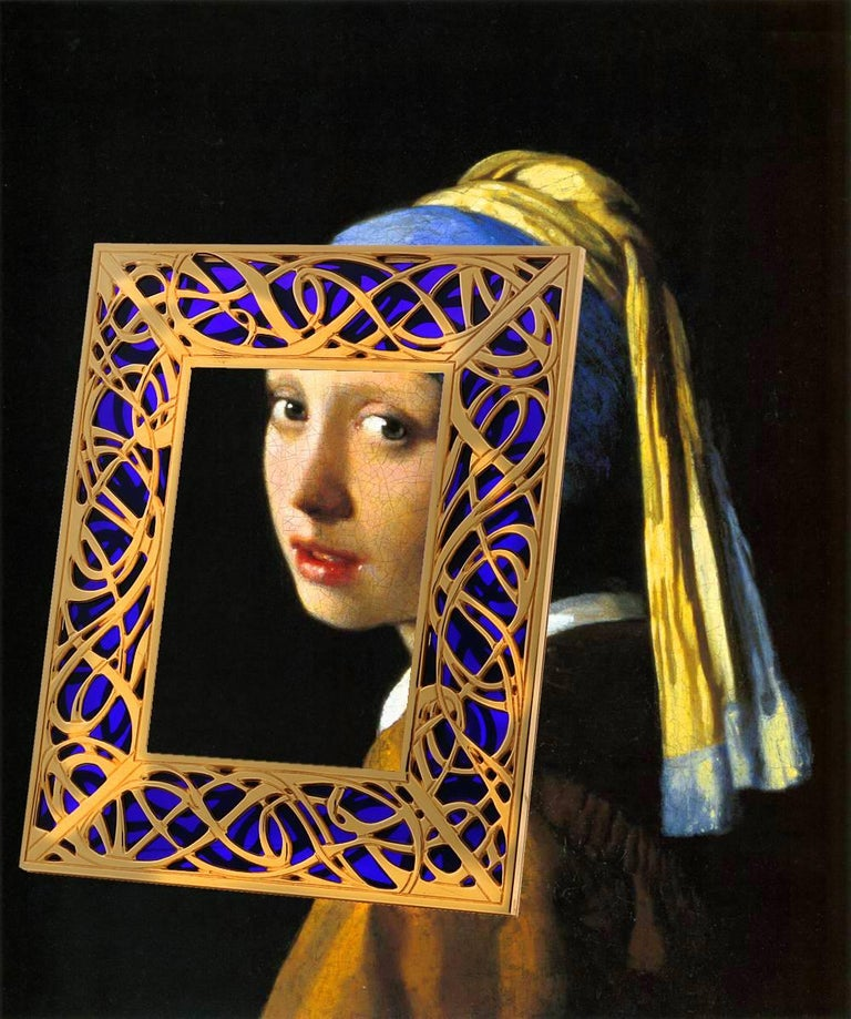 Art Nouveau Gilt Bronze Frame with Blue Murano Glass, Illumination Blue For Sale 2