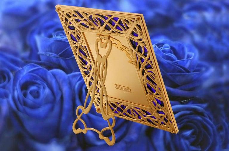 Art Nouveau Gilt Bronze Frame with Blue Murano Glass, Illumination Blue For Sale 3