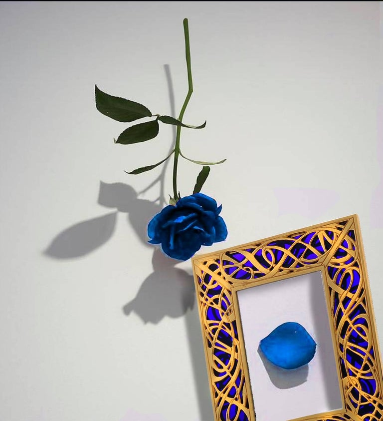 Art Nouveau Gilt Bronze Frame with Blue Murano Glass, Illumination Blue For Sale 5