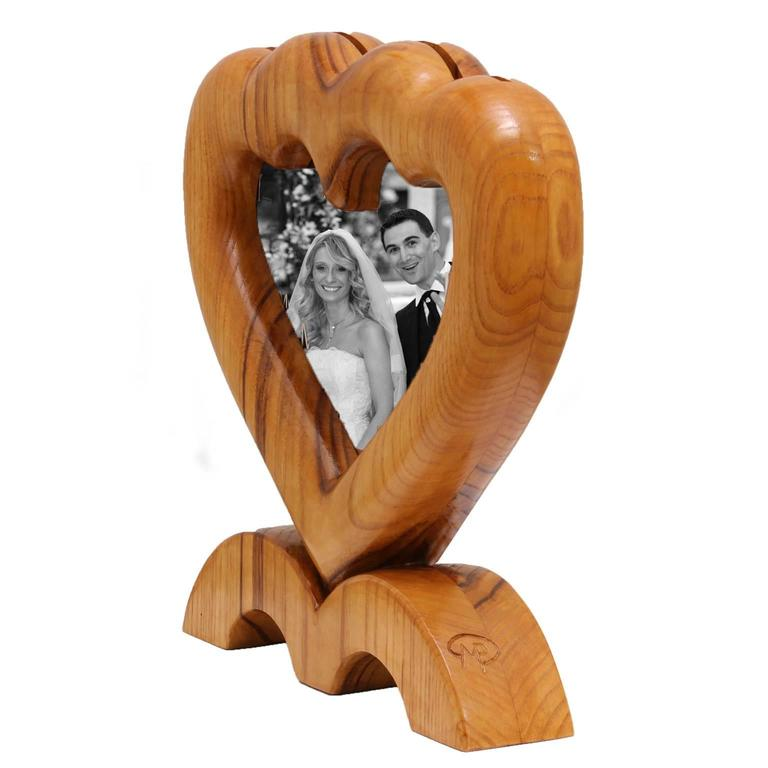 Arts and Crafts Large Italian Wood Double Picture Frame, Double Heart   In Good Condition For Sale In Sarezzo, IT