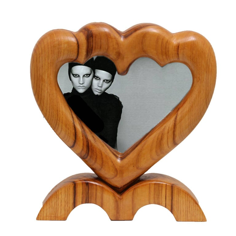 Hand-Carved Arts and Crafts Large Italian Wood Double Picture Frame, Double Heart   For Sale