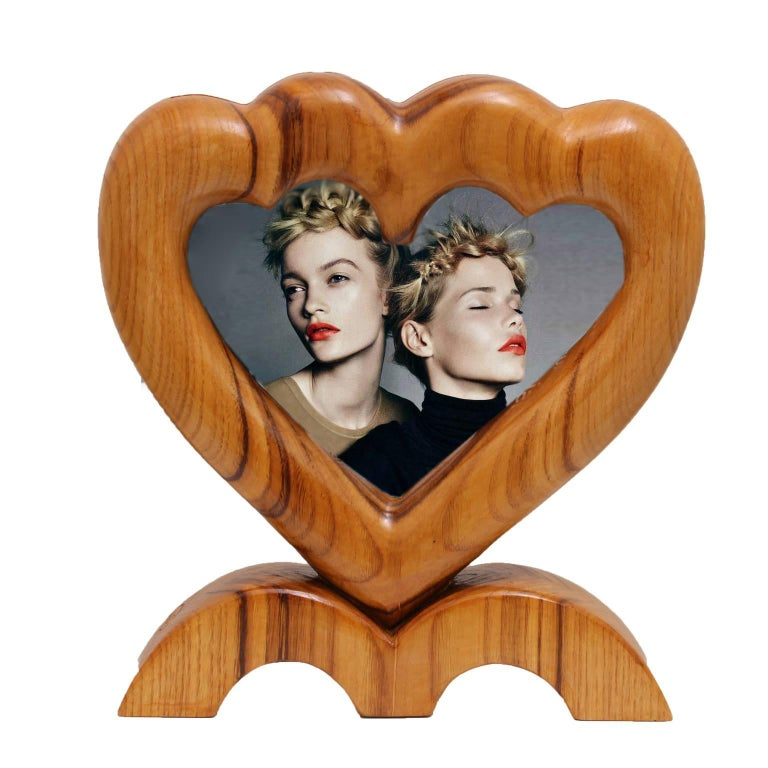 Contemporary Arts and Crafts Large Italian Wood Double Picture Frame, Double Heart   For Sale