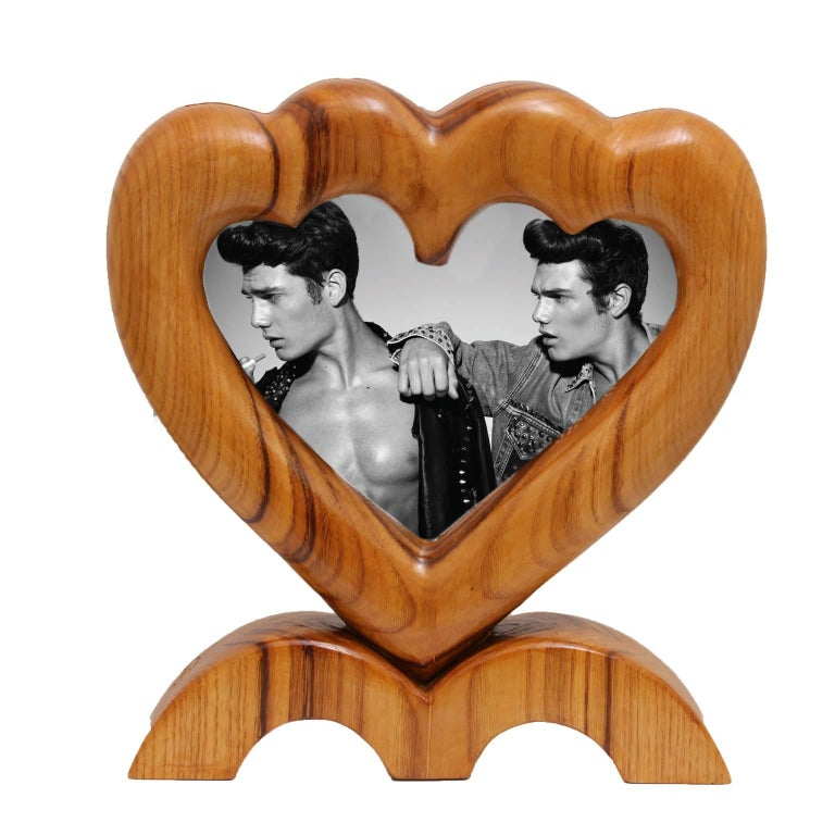Arts and Crafts Large Italian Wood Double Picture Frame, Double Heart   For Sale 1
