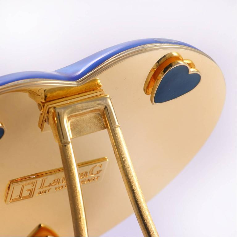 Arts and Crafts Italian Gilt Enamel Silver Picture Frame, Laura G Heart Blue  In Fair Condition For Sale In Sarezzo, IT
