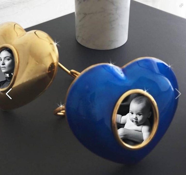Arts and Crafts Italian Gilt Enamel Silver Picture Frame, Laura G Heart Blue  For Sale 2