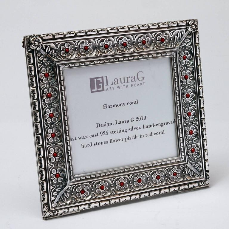 Hand-Crafted Italian Arts and Crafts  Lost Wax Silver Picture Frame, Harmony Coral For Sale
