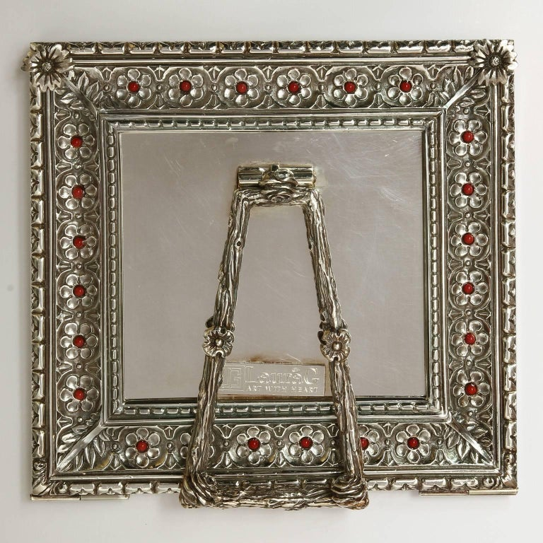 Italian Arts and Crafts  Lost Wax Silver Picture Frame, Harmony Coral For Sale 2