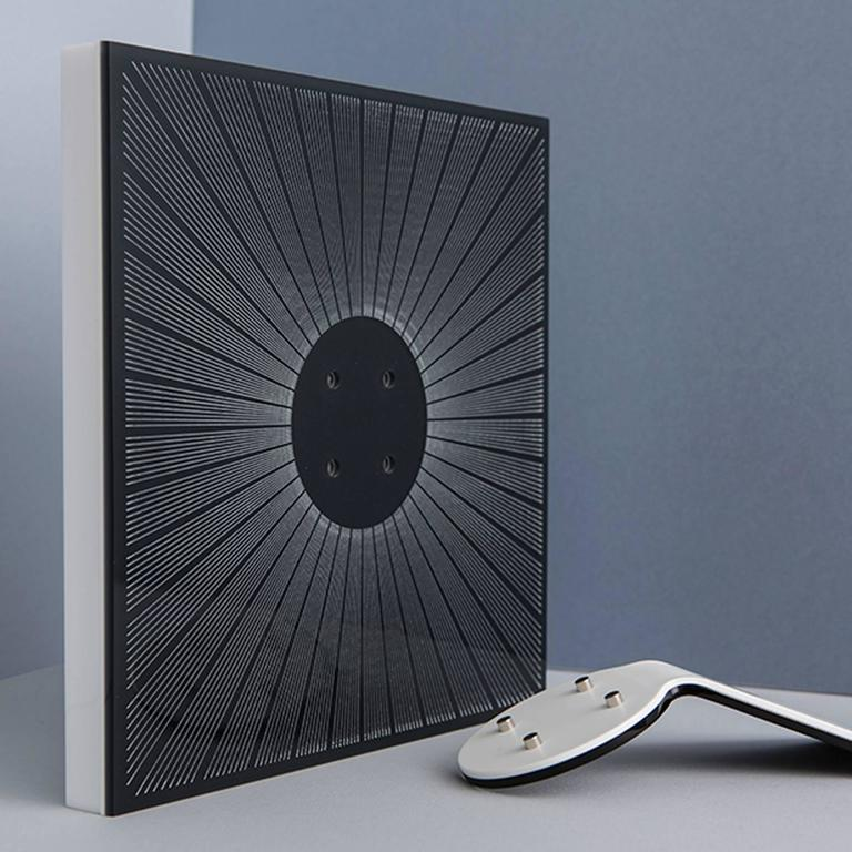 Italian Modern Design Picture Frame in Black Plexiglass, Sharing Black    For Sale 1