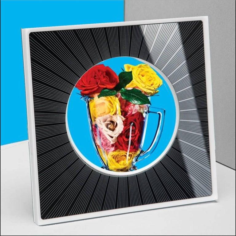 Contemporary Italian Modern Design Picture Frame in Black Plexiglass, Sharing Black    For Sale