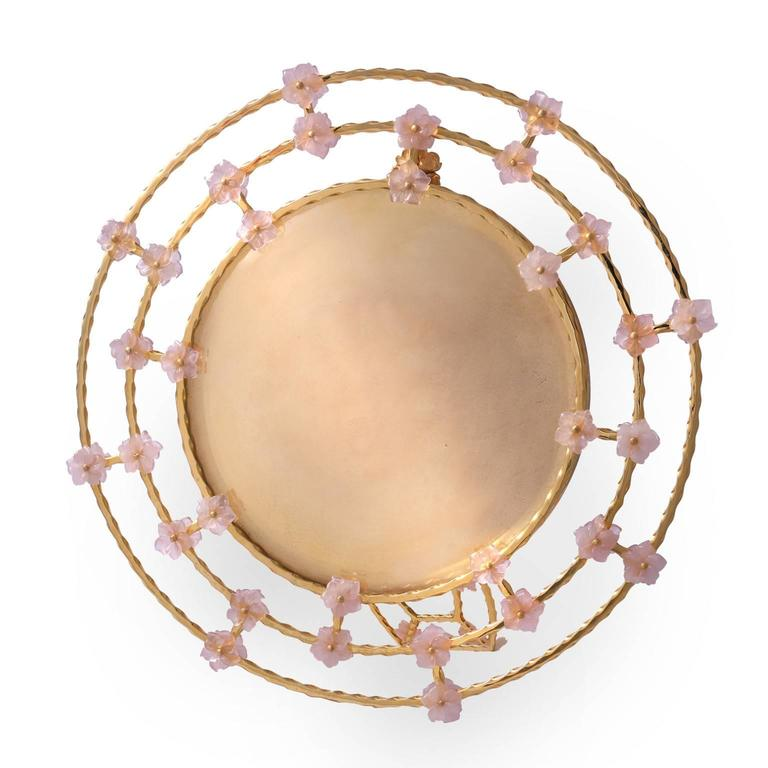 Romantic  Boho Chic Gilt Silver Picture Frame with Pink Quartz Flowers, Gratitude Round For Sale