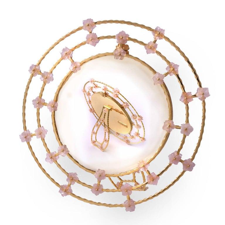 Contemporary  Boho Chic Gilt Silver Picture Frame with Pink Quartz Flowers, Gratitude Round For Sale