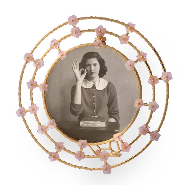 Boho Chic Gilt Silver Picture Frame with Pink Quartz Flowers, Gratitude Round For Sale 3