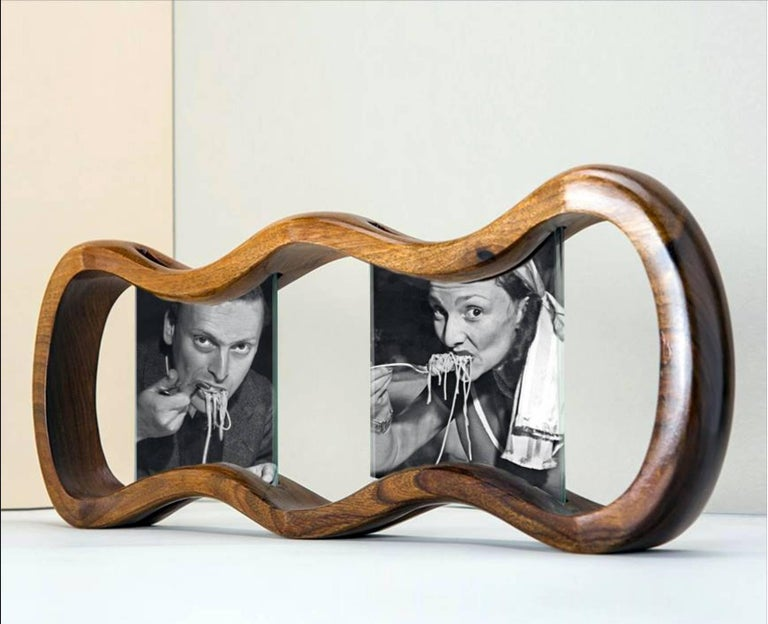 Pop  Design Large Walnut Wood Picture Frame, Humour Wood  For Sale 1