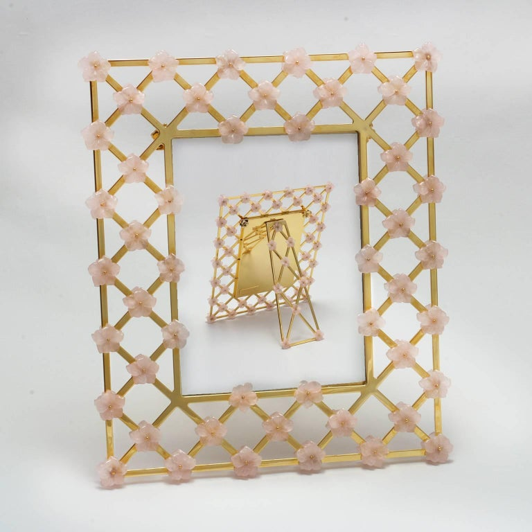 Hand-Crafted 21st Century Glit Bronze Frame with Pink Quartz Flowers, Gratitude Pink For Sale
