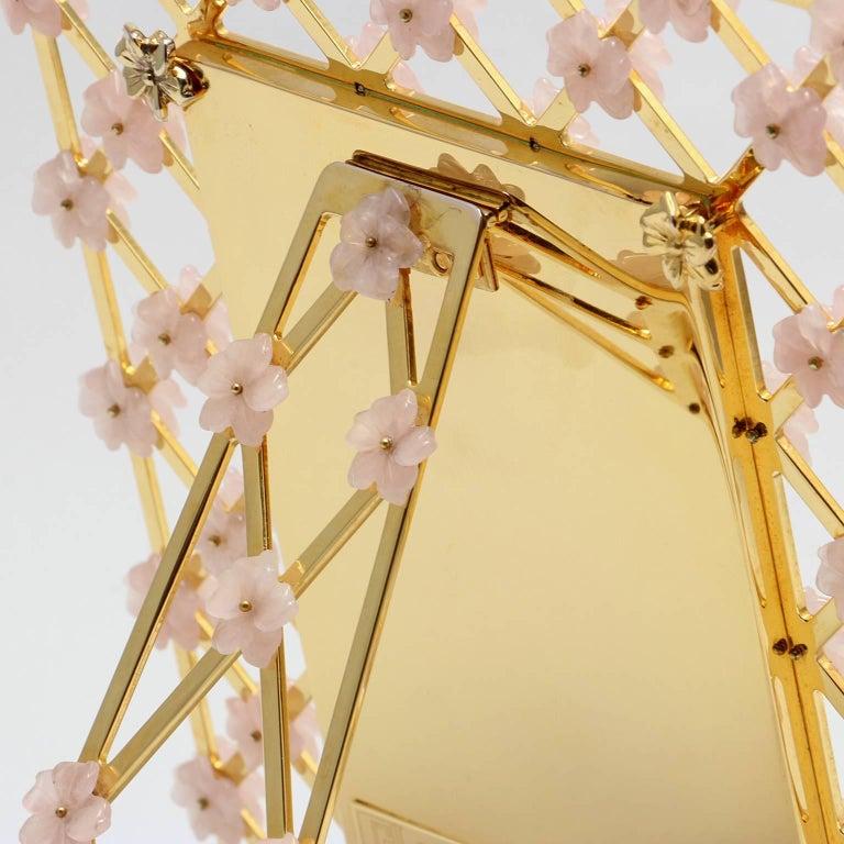 21st Century Glit Bronze Frame with Pink Quartz Flowers, Gratitude Pink In Good Condition For Sale In Sarezzo, IT