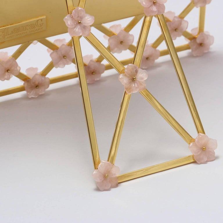 21st Century Glit Bronze Frame with Pink Quartz Flowers, Gratitude Pink For Sale 1