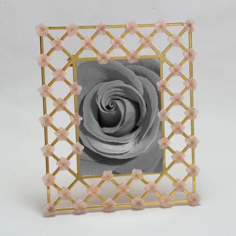 21st Century Glit Bronze Frame with Pink Quartz Flowers, Gratitude Pink For Sale 2