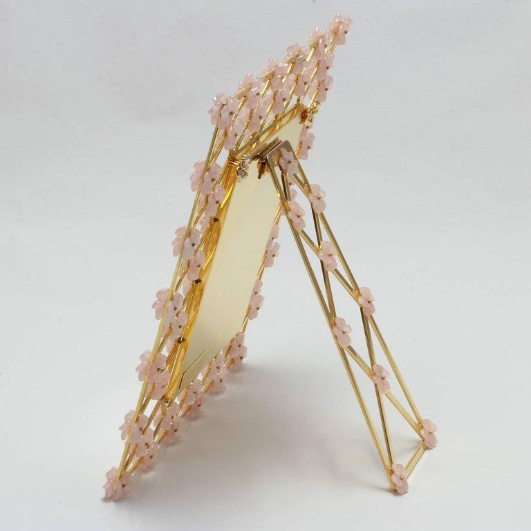 21st Century Glit Bronze Frame with Pink Quartz Flowers, Gratitude Pink For Sale 3