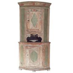 19th Century Swedish Gustavian Corner Cabinet, Original Painting