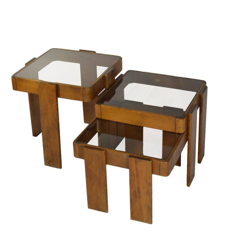 Nesting tables with glass top at 1stdibs for Glass top nesting tables