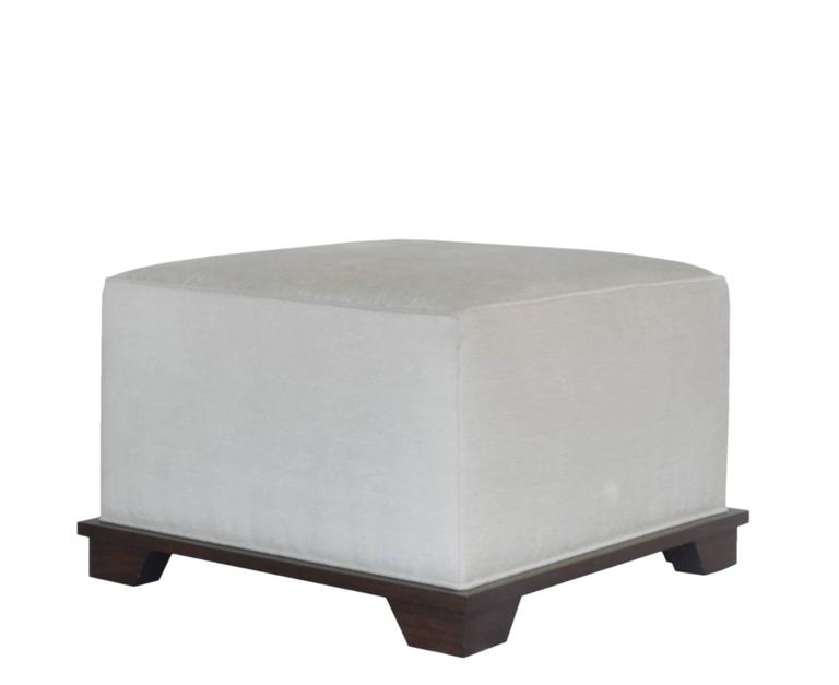 Custom ottoman designed by Neal Beckstedt Studio. Upholstery available in COM/COL.