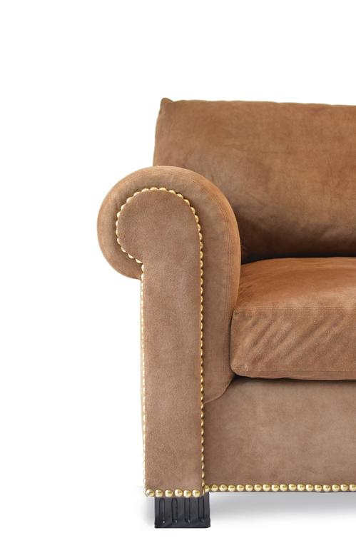 Contemporary Suede Rolled Arm Sofa by Ralph Lauren
