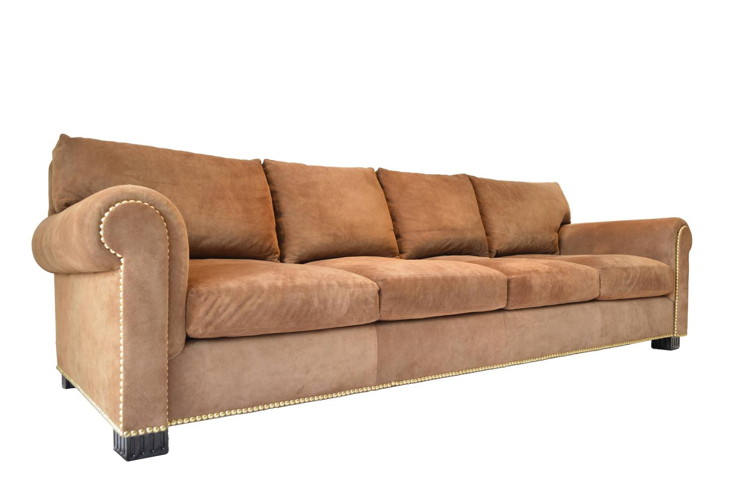 Suede rolled arm sofa by ralph lauren for sale at 1stdibs for Suede sectional