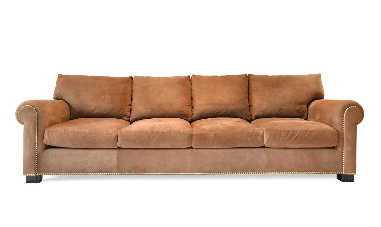 Suede Rolled Arm Sofa By Ralph Lauren For Sale At 1stdibs