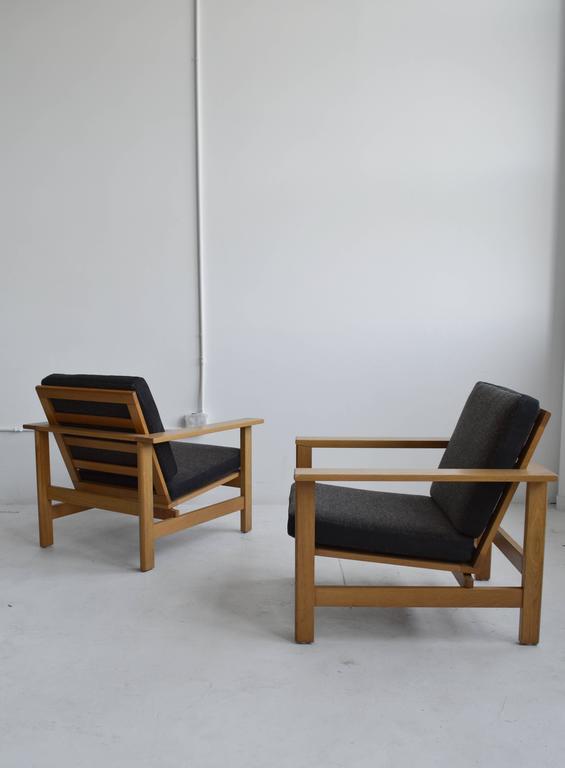 Gentil Mid Century Modern Pair Of Wood Frame Soren Holst Lounge Chairs, Mid Century