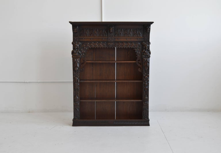 19th Century Victorian Antique Oak Carved Wall Cabinet Originally From England This Handsome Piece Features