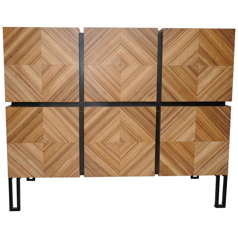 """Chest of Drawers """"Losange"""" in Zebrano Open in Tow Drawers For Sale"""