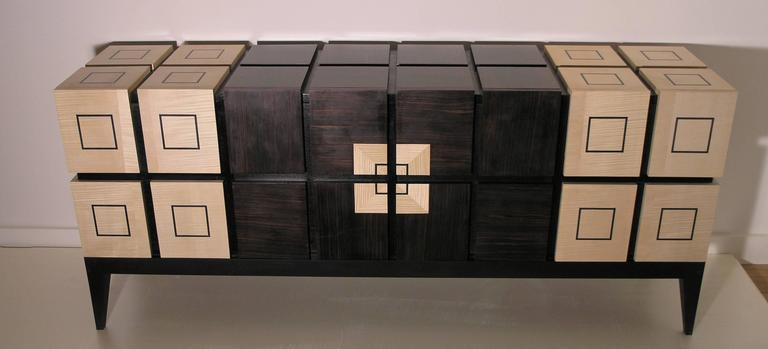 """Chest of Drawers """"Bar"""" in Sycomore and Ebony by Aymeric Lefort 4"""