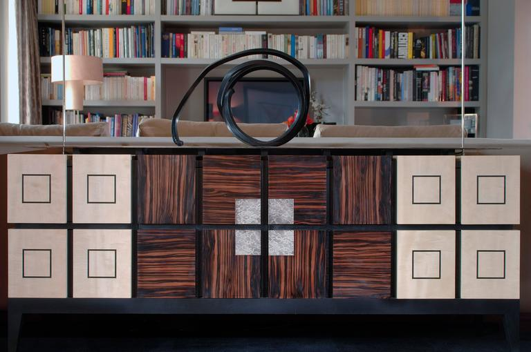 """Chest of Drawers """"Bar"""" in Sycomore and Ebony by Aymeric Lefort 3"""