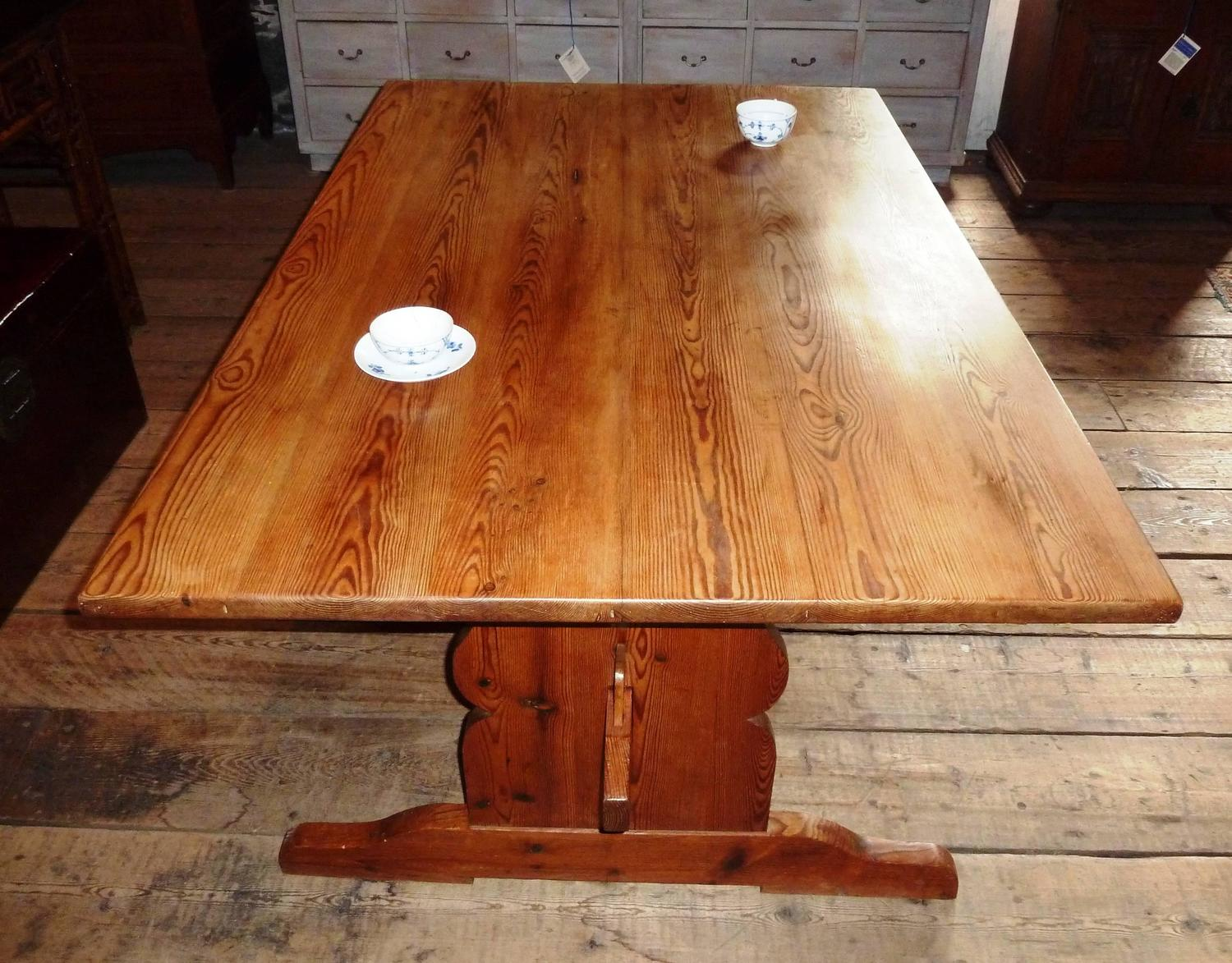 Amazing photo of 19th Century Swedish Trestle Farm Table at 1stdibs with #AE5118 color and 1500x1173 pixels