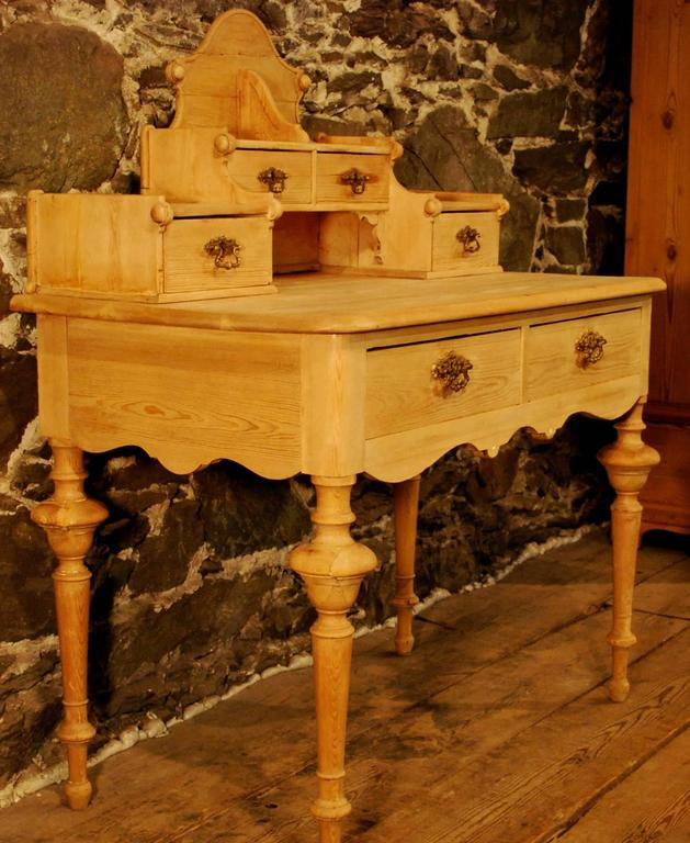 Antique Danish Pine Desk With Six Drawers Circa 1860 For