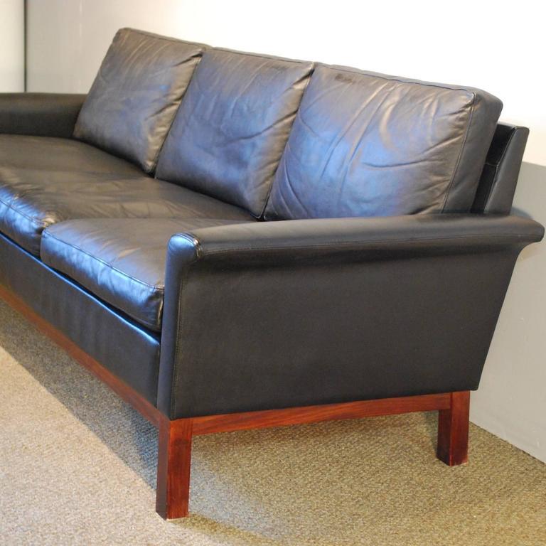 hans hansen designed danish modern leather sofa at 1stdibs