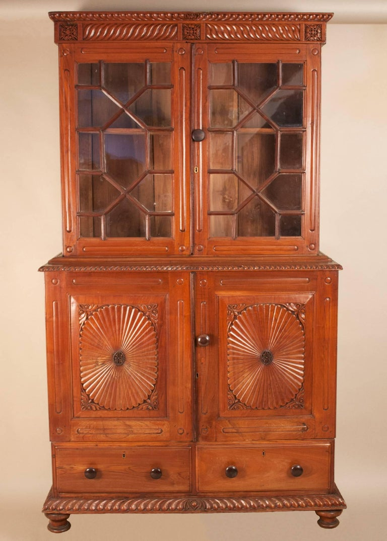 Teak Wood Pieces ~ British colonial teak wood china cabinet hutch for sale at