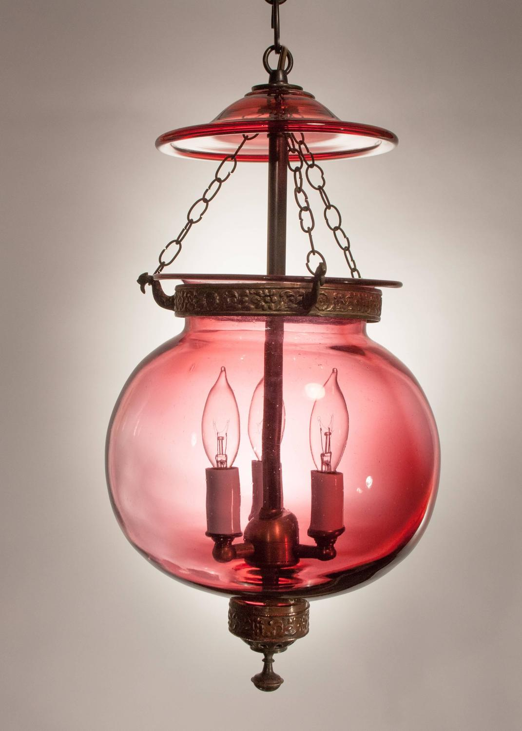 19th Century Red Globe Bell Jar Lantern For Sale At 1stdibs