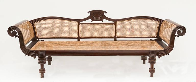 Late 19th Century British Colonial Caned Settee Carved From Tropical  Hardwood. This Long, Graceful