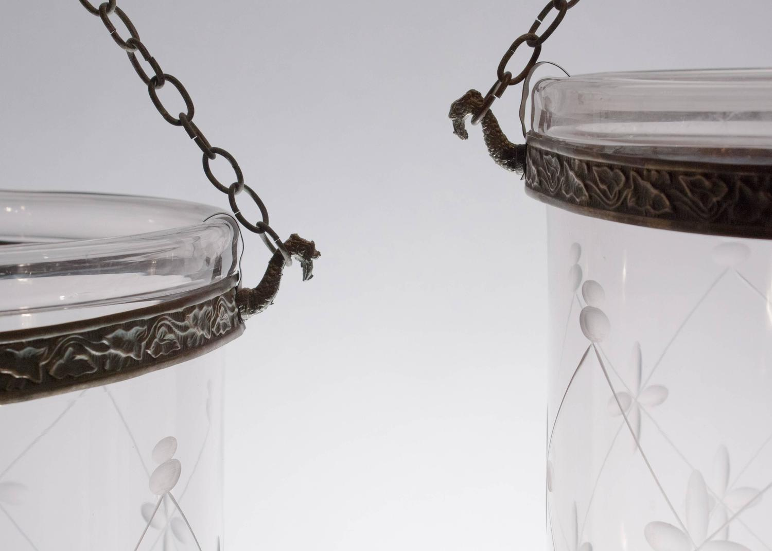 Pair Of 19th Century Large Etched English Bell Jar Hall