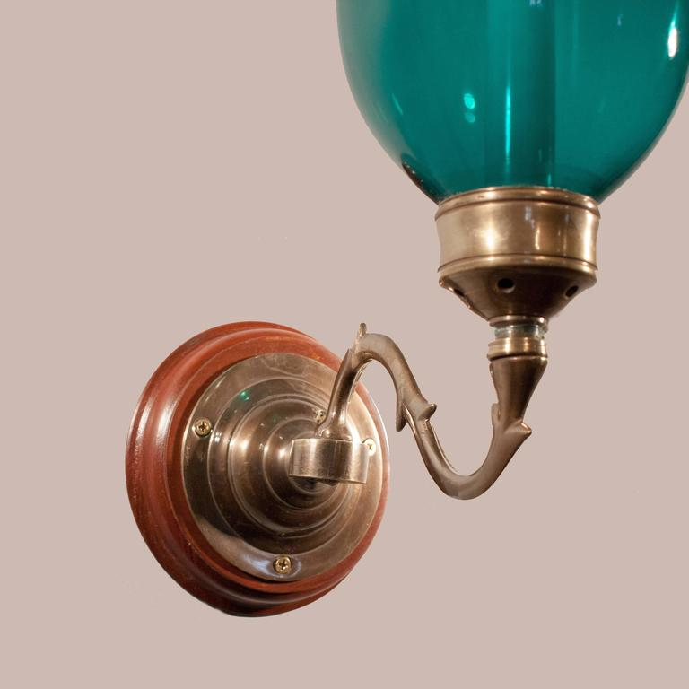 Pair of 19th Century Green Hurricane Wall Sconces For Sale at 1stdibs