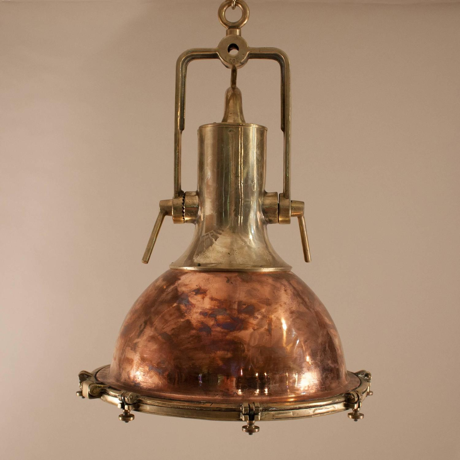 Modern Copper Ring Led Pendant Lighting 10758 Shipping: Pair Of Large Copper And Brass Nautical Pendants For Sale
